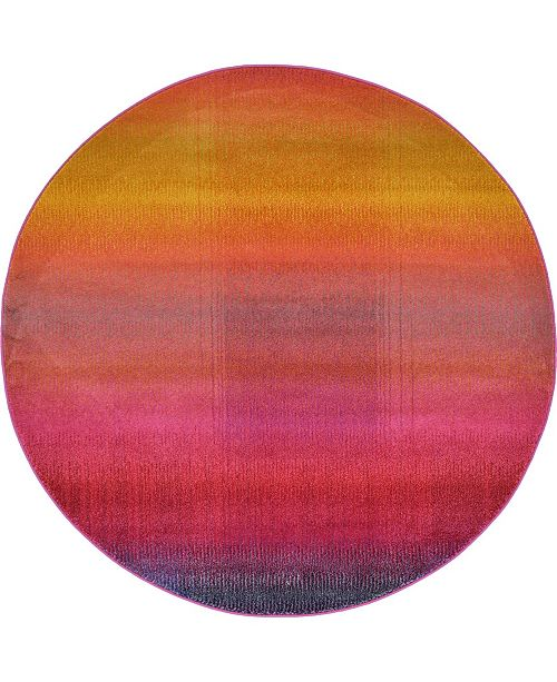 Bridgeport Home Newwolf New1 Pink 6' x 6' Round Area Rug