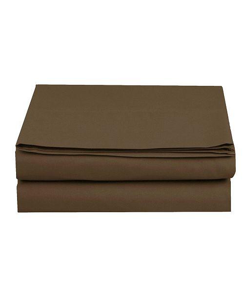 Elegant Comfort Silky Soft Single Flat Sheet  King Brown
