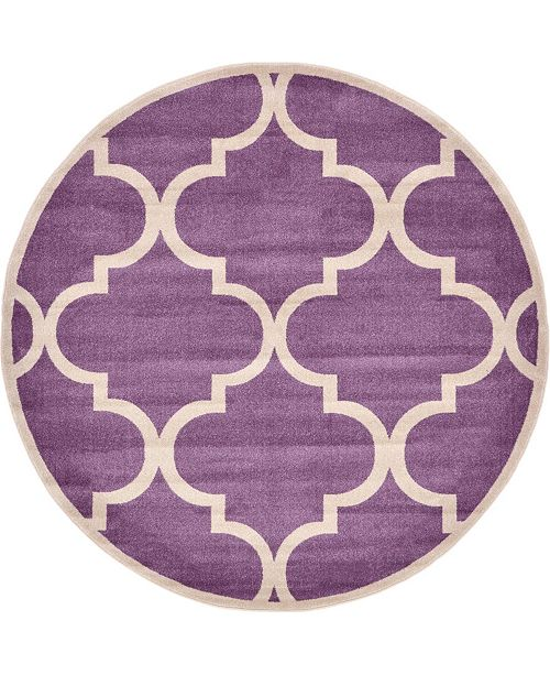 Bridgeport Home Arbor Arb3 Purple 8' x 8' Round Area Rug