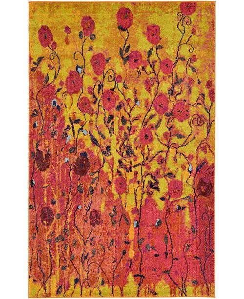 Bridgeport Home Newwolf New3 Yellow 5' x 8' Area Rug