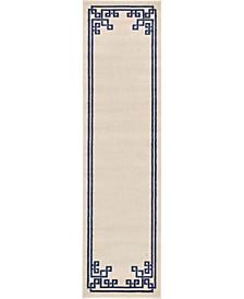 """Anzu Anz3 Beige/Navy 2' 7"""" x 10' Runner Area Rug"""