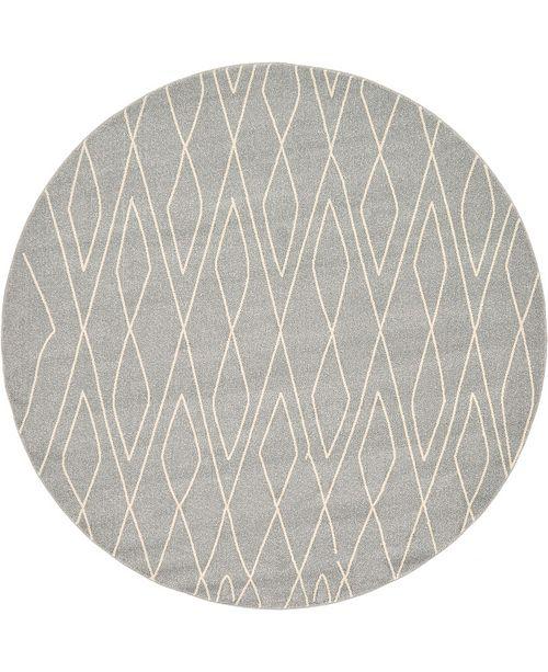 Bridgeport Home Fio Fio1 Gray 8' x 8' Round Area Rug