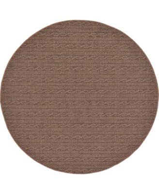 Pashio Pas6 Brown 6' x 6' Round Area Rug