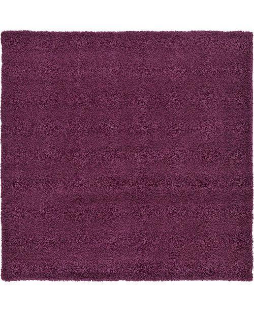"Bridgeport Home Exact Shag Exs1 Eggplant Purple 8' 2"" x 8' 2"" Square Area Rug"