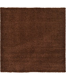 "Exact Shag Exs1 Chocolate Brown 8' 2"" x 8' 2"" Square Area Rug"