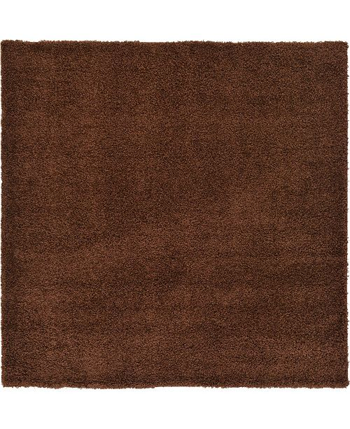"Bridgeport Home Exact Shag Exs1 Chocolate Brown 8' 2"" x 8' 2"" Square Area Rug"