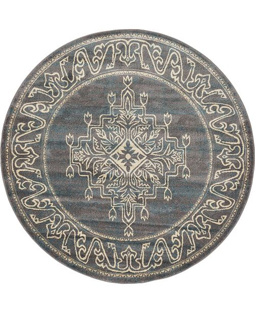 Bridgeport Home Aroa Aro8 Gray 6' x 6' Round Area Rug