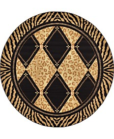 Bridgeport Home Maasai Mss6 Light Brown 8' x 8' Round Area Rug