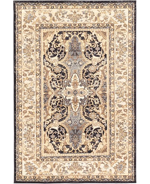 Bridgeport Home Wisdom Wis2 Black 4' x 6' Area Rug