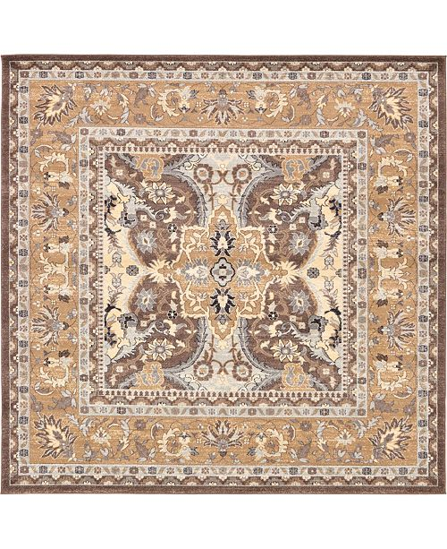 "Bridgeport Home Wisdom Wis2 Brown 8' 4"" x 8' 4"" Square Area Rug"