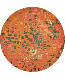 Bridgeport Home Adah Ada1 Orange 6' x 6' Round Area Rug