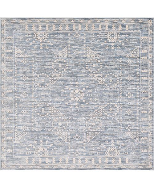 Bridgeport Home Caan Can3 Blue 8' x 8' Square Area Rug