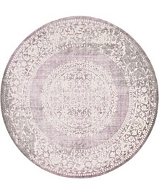 Norston Nor4 Purple 8' x 8' Round Area Rug