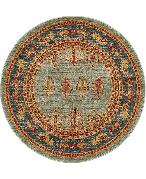"Bridgeport Home Ojas Oja2 Light Blue 3' 3"" x 3' 3"" Round Area Rug"