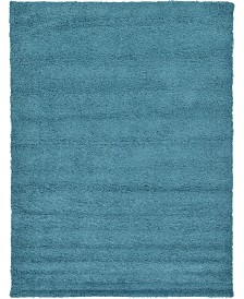 Bridgeport Home Exact Shag Exs1 Deep Aqua Blue 8' x 11' Area Rug