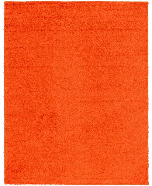 Bridgeport Home Exact Shag Exs1 Tiger Orange 10' x 13' Area Rug