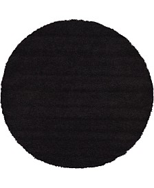 Bridgeport Home Exact Shag Exs1 Jet Black 6' x 6' Round Area Rug