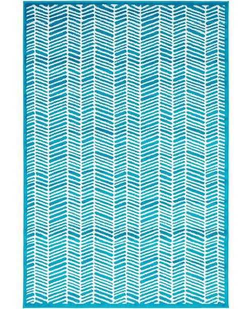 Bridgeport Home Politan Pol1 Turquoise 4' x 6' Area Rug