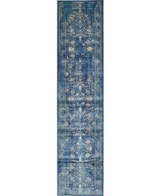 Masha Mas3 Navy Blue 3' x 13' Runner Area Rug