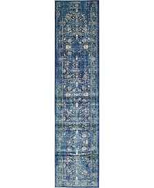 Bridgeport Home Masha Mas3 Navy Blue 3' x 13' Runner Area Rug