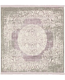 Norston Nor4 Purple 4' x 4' Square Area Rug