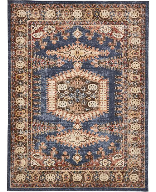 Bridgeport Home Shangri Shg4 Navy Blue 9' x 12' Area Rug