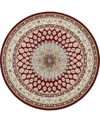 Zara Zar1 Burgundy 10' x 10' Round Area Rug