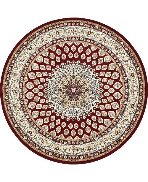 Bridgeport Home Zara Zar1 Burgundy 10' x 10' Round Area Rug