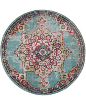 Sana San1 Light Blue 8' x 8' Round Area Rug