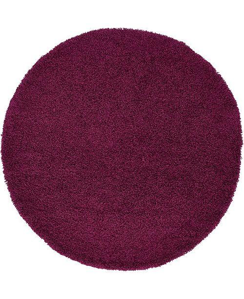 Bridgeport Home Exact Shag Exs1 Eggplant Purple 6' x 6' Round Area Rug