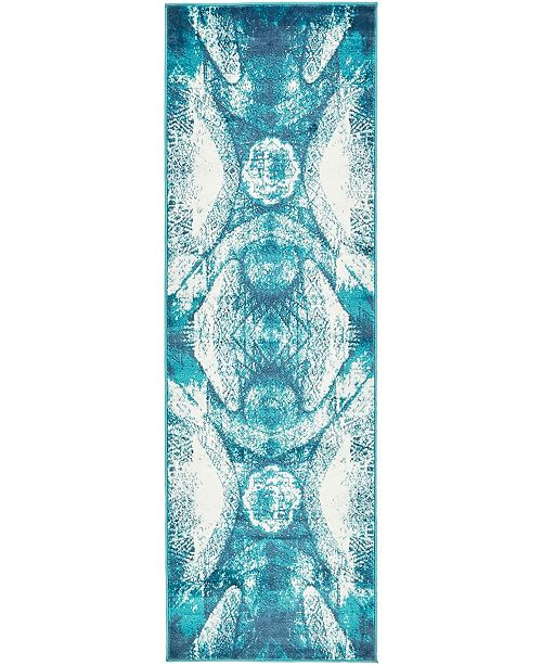"Bridgeport Home Basha Bas3 Turquoise 2' x 6' 7"" Runner Area Rug"