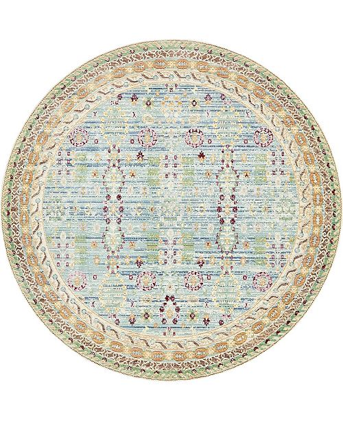 Bridgeport Home Malin Mal2 Blue 8' x 8' Round Area Rug