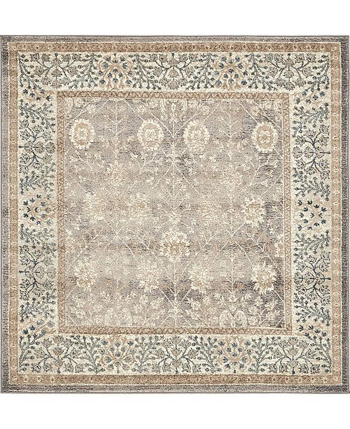 Bridgeport Home Bellmere Bel3 Gray 5' x 5' Square Area Rug