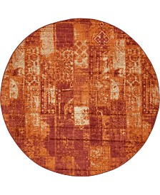 Bridgeport Home Jasia Jas07 Terracotta 8' x 8' Round Area Rug
