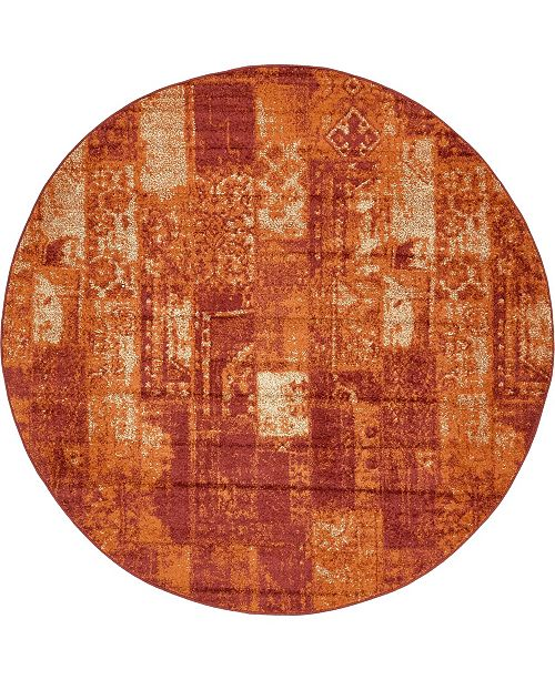 Bridgeport Home Jasia Jas07 Terracotta 8' x 8' Round Area Rug