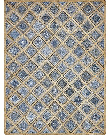 Bridgeport Home Braided Square Bsq6 Blue 8' x 10' Area Rug