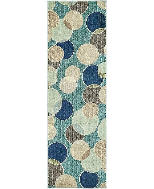 "Bridgeport Home Crisanta Crs6 Blue 2' 2"" x 6' 7"" Runner Area Rug"