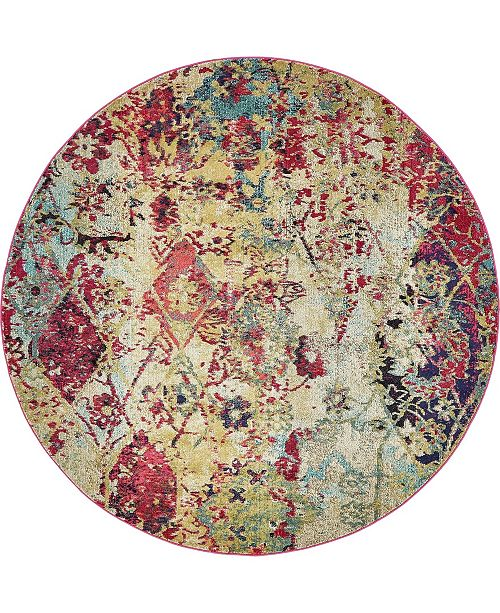Bridgeport Home Newhedge Nhg2 Multi 8' x 8' Round Area Rug