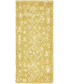 "Bridgeport Home Fazil Shag Faz1 Yellow 2' 7"" x 6' Runner Area Rug"