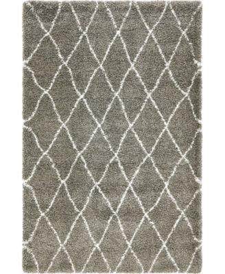 Fazil Shag Faz3 Gray 5' x 8' Area Rug