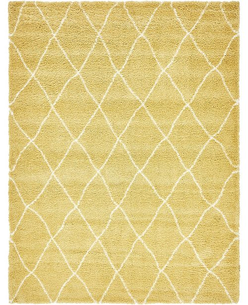 Bridgeport Home Fazil Shag Faz3 Yellow 9' x 12' Area Rug