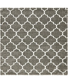 Bridgeport Home Fazil Shag Faz4 Gray 8' x 8' Square Area Rug