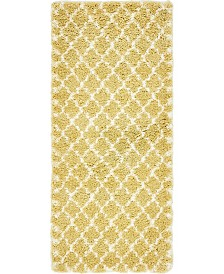 "Bridgeport Home Fazil Shag Faz4 Yellow 2' 7"" x 6' Runner Area Rug"