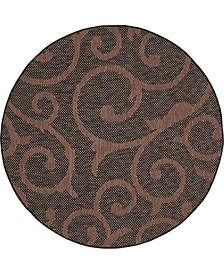 Bridgeport Home Pashio Pas7 Chocolate Brown 6' x 6' Round Area Rug