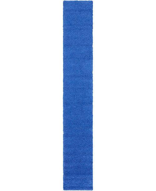 "Bridgeport Home Exact Shag Exs1 Periwinkle Blue 2' 6"" x 16' 5"" Runner Area Rug"