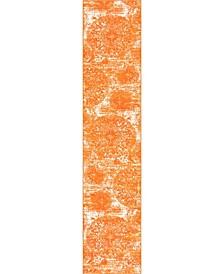 "Basha Bas7 Orange 3' 3"" x 16' 5"" Runner Area Rug"