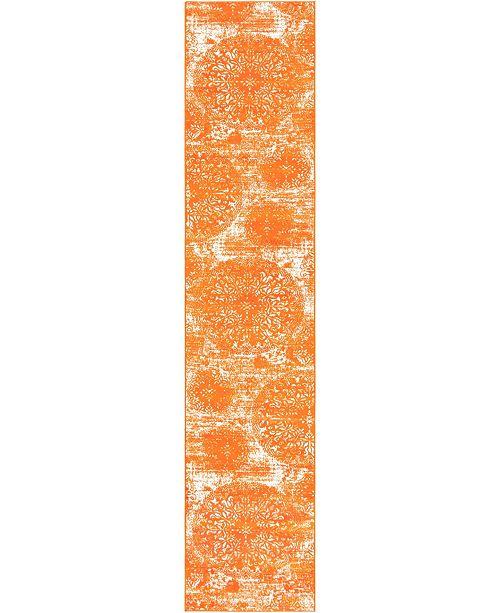 "Bridgeport Home Basha Bas7 Orange 3' 3"" x 16' 5"" Runner Area Rug"