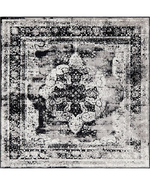 Bridgeport Home Basha Bas2 Black 8' x 8' Square Area Rug