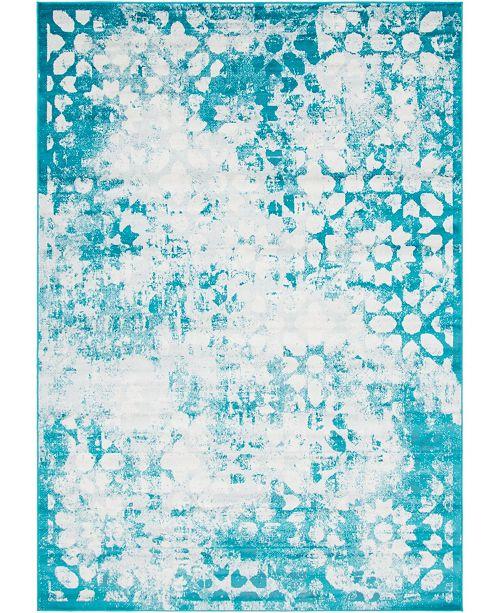 Bridgeport Home Basha Bas5 Turquoise 7' x 10' Area Rug