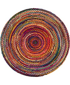 Roari Cotton Braids Rcb1 Multi 6' x 6' Round Area Rug